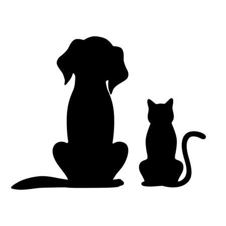 Een silhouet van hond en kat op een witte achtergrond Stockfoto - 93114954