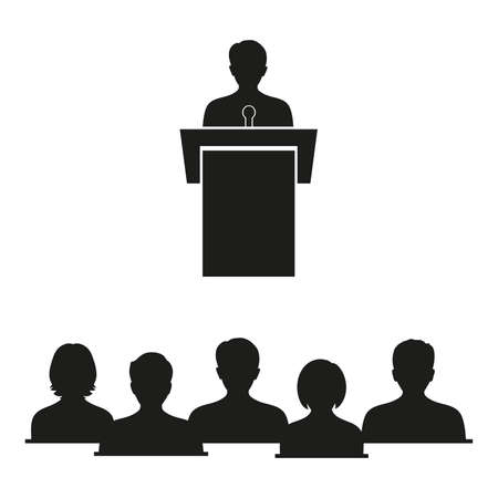 Business concept illustration of a businessman giving a speech on stage in front of students