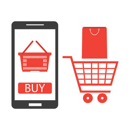 Mobile phone with shopping cart, online ordering notification concept, ecommerce, order delivery service modern flat icon design