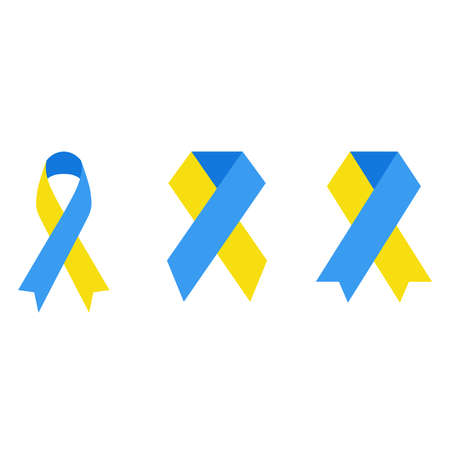 Yellow and blue ribbon clipart illustration. Emblem for Down syndrome awareness. Illustration