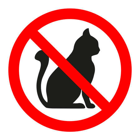 Red glass forbidden sign with black cat