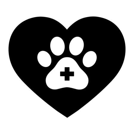Paw of dog with cross inside the heart