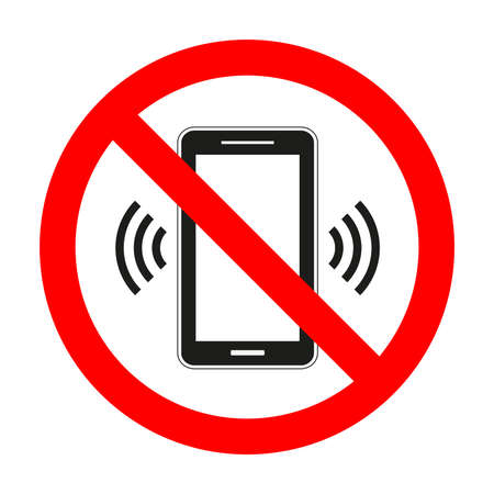 Mobile phone sign prohibited on white background.