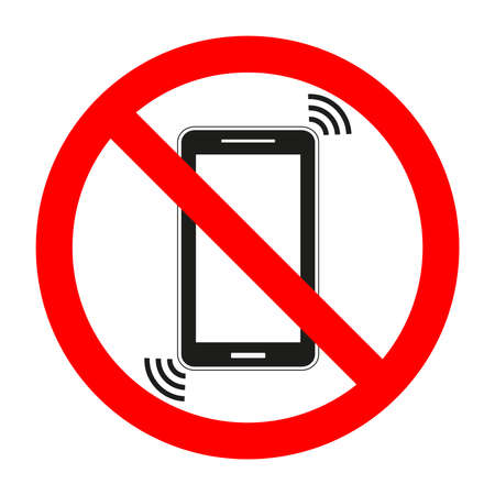 sign forbidden mobile phone on white background