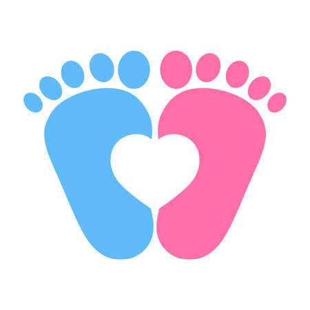 blue and pink foot prints with heart Vector illustration isolated on white background. Stock Illustratie