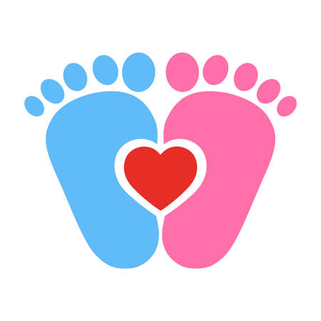 blue and pink baby footprints with red heart on white background. Vector illustration.