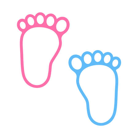 Foot symbol design.Child or toddler's colorful pair of footprint.