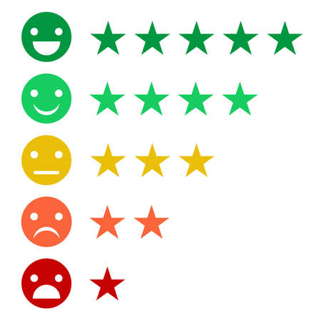 Rank or level of satisfaction rating. Review in the form of emotions, smileys, stars. Many colors.Feedback emoticon.