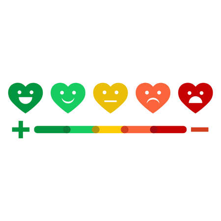 Many colors.Feedback emoticon. Rank or level of satisfaction rating. Review in the form of emotions, hearts, stars.