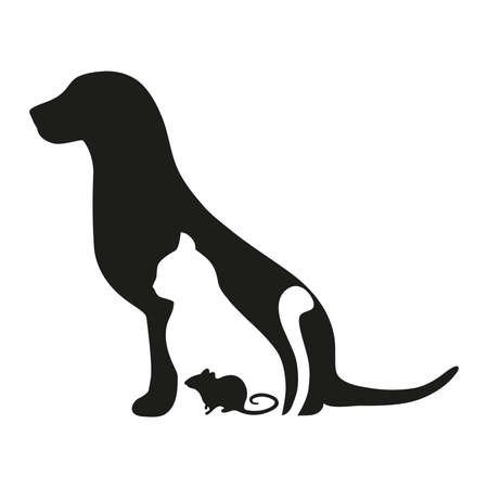 Silhouette of a dog, cat and mouse on white background. Emblem of veterinary medicine.  イラスト・ベクター素材