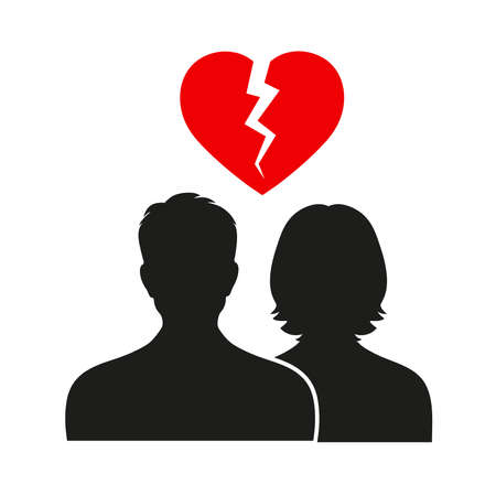 Divorce Heartache Concept. Broken Heart carried by stick man and woman. Isolated on white background
