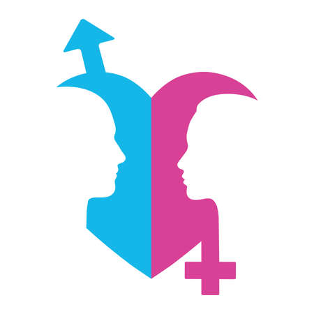 Illustration Of Gender Symbols With Heads Of Man And Woman Royalty