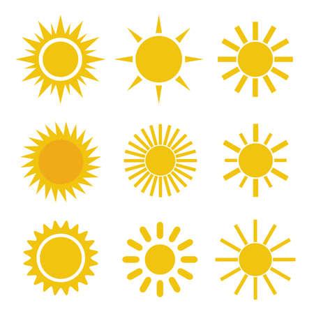 illustration Set of Different Simple Yellow Orange Sun Icons on White Background - Spiky and Wavy Rays Ilustração