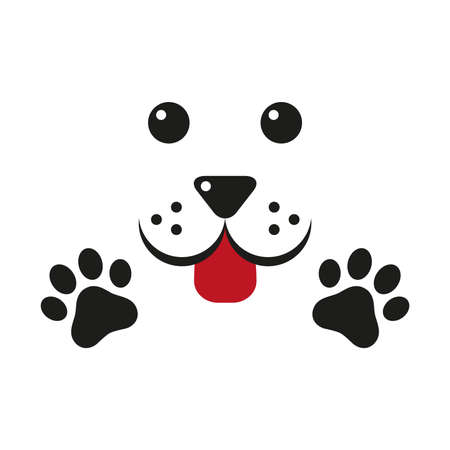 Cute Dog, paw - icon, symbol, protect sign illustration.