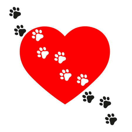 illustration of dog tracks on background of heart Ilustração