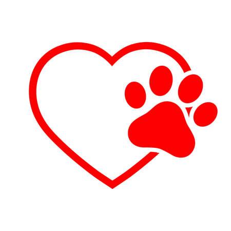 Ilustración Corazón con pata de perro aislado sobre fondo blanco.