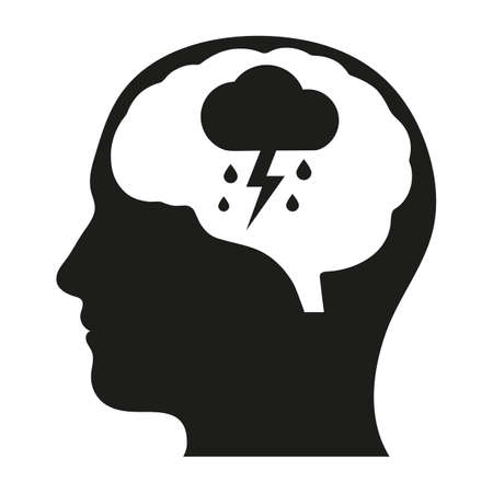 Mental health icons of depression, addiction or loneliness concept. Stress icon. Emotional desperation, pressure and stressful, symbolic trouble and sadness. Depression icon.