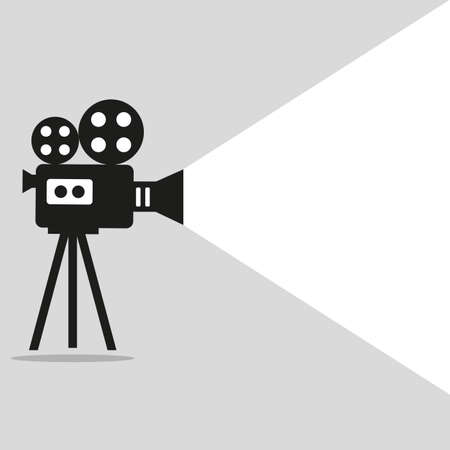 Retro movie projector poster. Video camera on a tripod on a gray background  イラスト・ベクター素材