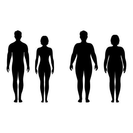 male and female silhouettes on a white background
