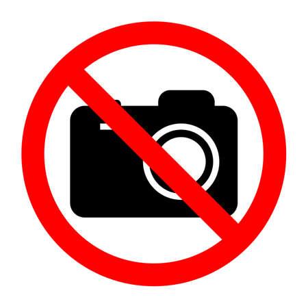 sign prohibited camera on white background