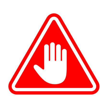 Stop sign, white hand in red triangle Ilustrace