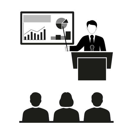 Business seminar. Businessman in suit and tie making presentation explaining charts on a white board. Flat style on white background Ilustração