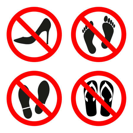 sign forbidden shoes, one can not walk barefoot in a red circle on a white background Vettoriali