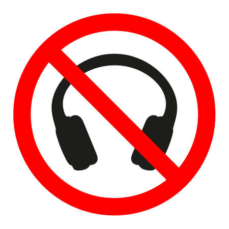 sign prohibited headphones on white background