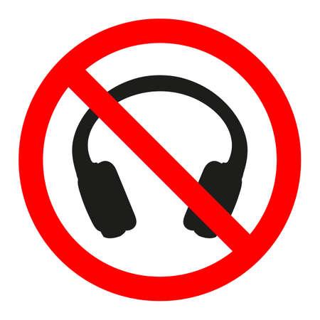 sign prohibited headphones on white background
