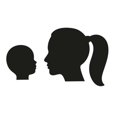 Silhouettes of the heads of mother and child. Ilustração