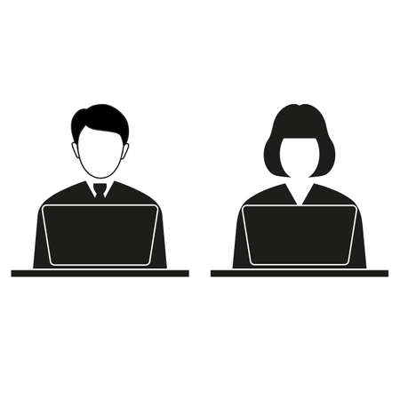 man and woman behind a laptop on a white background