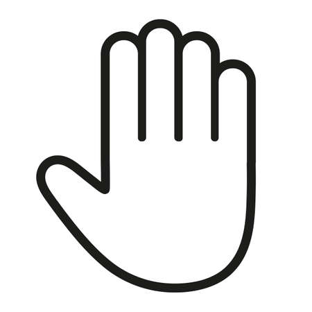 Hand gesture line icon set in modern geometric style with construction lines. Isolated illustration of human hands. Ilustração