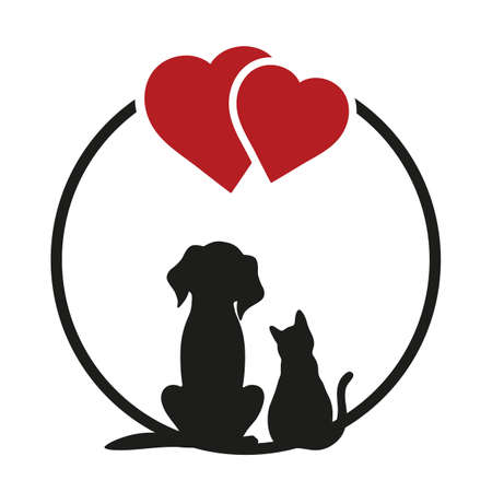 Round sighn, can use for pet shop icon, veterinary clinic, etc. Cat and dog silhouettes on a white background