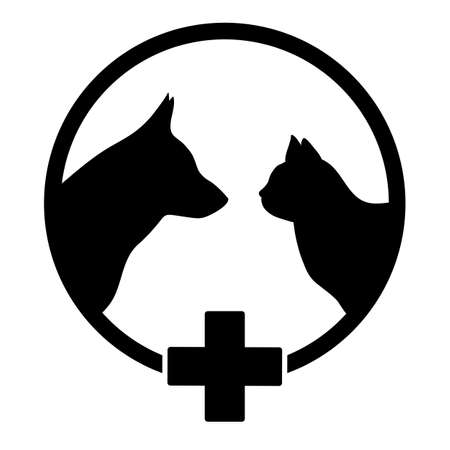veterinary clinic icon with pet silhouette and black medical cross Ilustração
