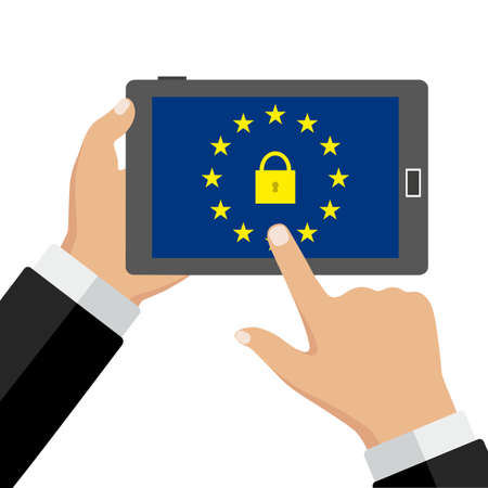 phone in hand. Mobile security app on smartphone screen.