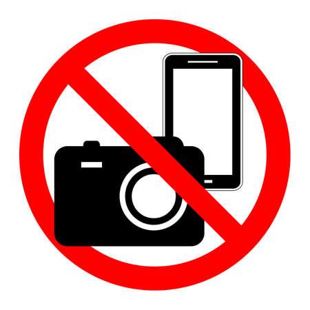 , Etiqueta engomada del símbolo de prohibición para lugares del área, Aislado sobre fondo blanco, No, No hay cámara y señal de teléfono móvil