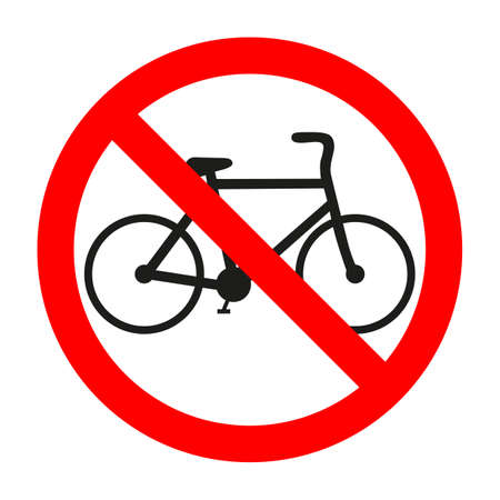 Cycling is prohibited illustration. Riding bike is not allowed image. Bicycles are banned.Stop or ban sign with cyclist icon isolated on white background.