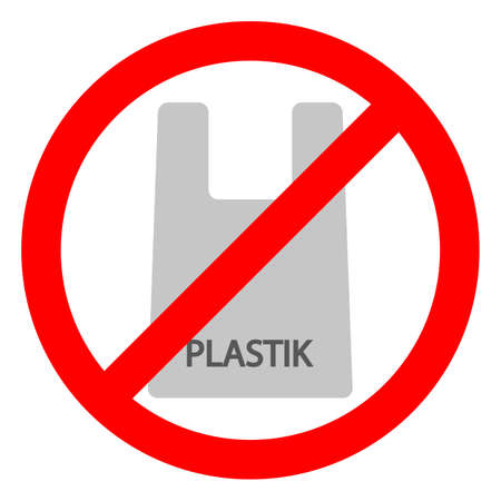 posable cellophane and polythene package prohibition sign. Pollution problem concept.