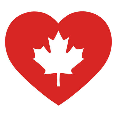 illustration of a maple leaf symbol of Canada on a red heart background