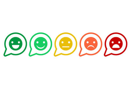 Feedback rating scale of red, orange, yellow and green emoticons, Smiley icons in different colors.