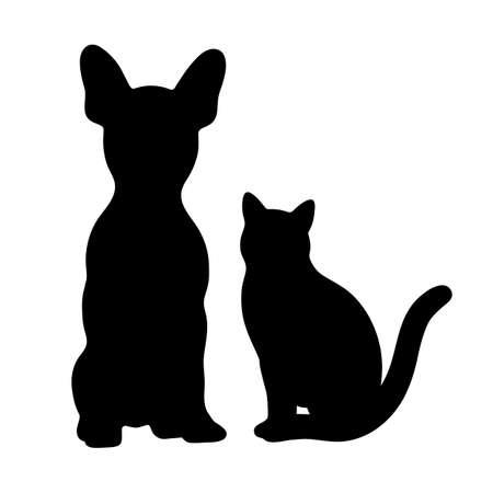 Icono de perro y gato silueta negra sobre un fondo blanco. Ilustración de vector