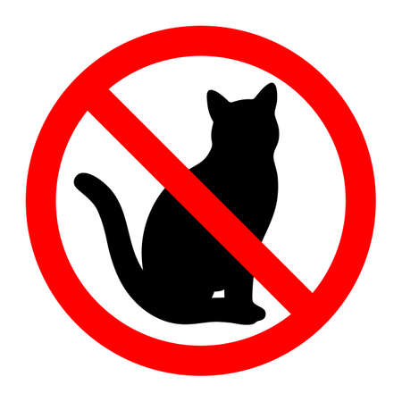 Red glass forbidden sign with black cat Banque d'images - 109351368