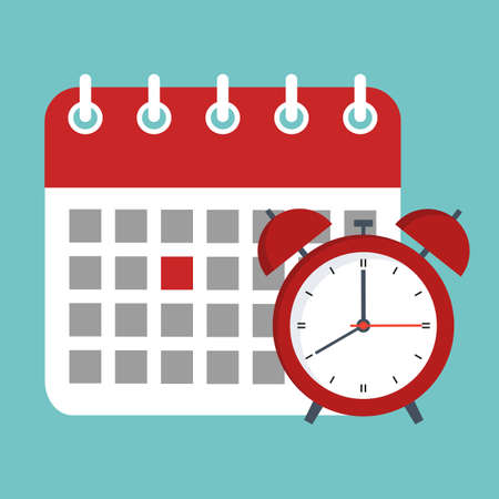 illustration of calendar and clock icon. Schedule, appointment, important date concept. Vetores