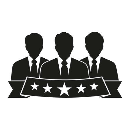 Business Client Satisfaction. People Group Stars Illustration. Rating Evaluation Assessment Symbol on a white background
