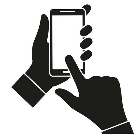Hand holding black smartphone, touching blank white screen. Using mobile smart phone on white background