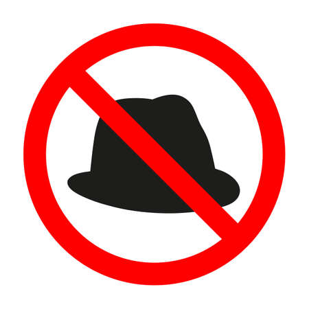 Cap in the red circle. sign prohibiting a hat on a white background Vektoros illusztráció