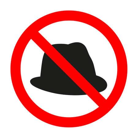 Gorra en el círculo rojo. Signo que prohíbe un sombrero sobre un fondo blanco. Ilustración de vector