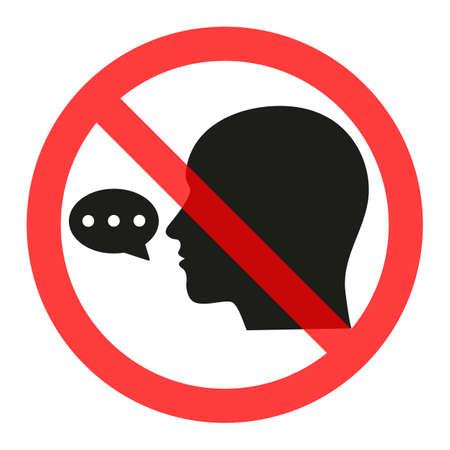 Firmar prohibido hablar. Prohibir la difusión de información, chismes. Censura. Ilustración de vector