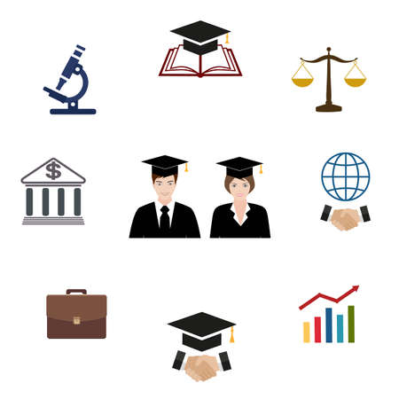Graduation and education icons set. University and student, undergraduate and diploma, book and microscope, bank and portfolio on a white background Illustration
