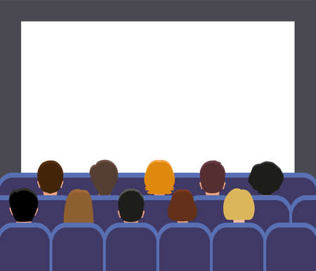 silhouettes of man and women Back view. People in the movie theater or movie screening room. Illustration